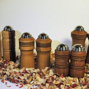 Handmade turner salt & pepper shaker set